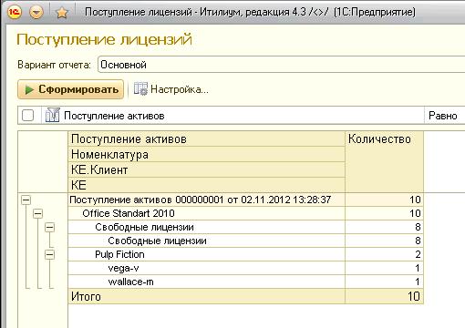 Отчет по поступлению лицензий